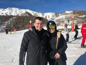 Matt and Charlotte Skiing