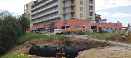 Firefighting tanks installed for a new hospital in Austria