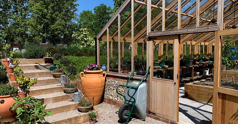 Decorative above ground water tank in garden